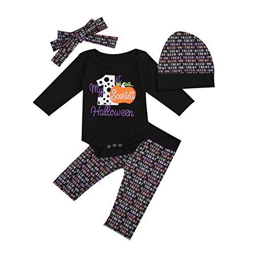 Conjunto de Bebé Recién Nacido 4 Piezas Mameluco de Manga Larga + Pantalones + Sombrero + Diadema de Calabaza con Estampado de Letras para Halloween 3-18 Meses