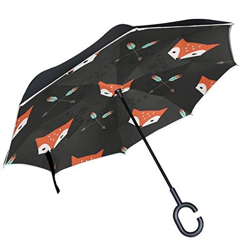 alaza rode vos hoofd veer pijl op zwart omgekeerde paraplu dubbele laag winddicht omgekeerde paraplu