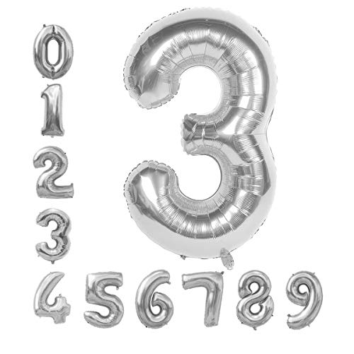 GRESAHOM Ballon Zahl in Silber, 40inch 100cm Riesen Folienballon Zahl 3 Luftballon Geburtstagsdeko