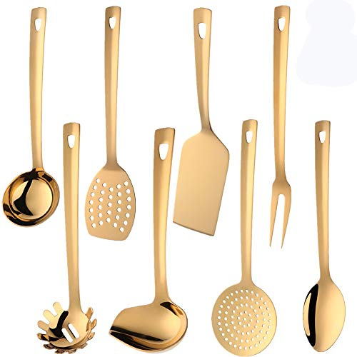 QIBOORUN Stainless Steel Kitchen Utensil Set -8 Cooking Utensils, Colorful Titanium Plated Set Kitchen Tools Gadgets Cake Shovels/Plain Spatula, Potato Masher, Spoon, Slotted Spoon-Gold