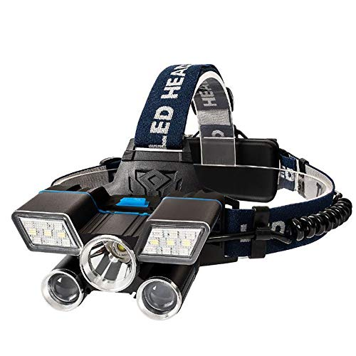 Hoofdlamp, 5 leds sterk licht krachtige multifunctionele koplamp USB-laadstation waterdicht vislicht zaklamp gemonteerd