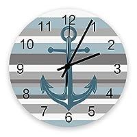 掛け時計 青いグレー ストライプ アンカー 壁掛け時計 掛時計 静音 clock サイレント 壁時計 部屋 リビング 玄関 インテリア コンパクトサイズ 電池式 木掛け鐘 大数字 円形 贈り物 直径 30cm