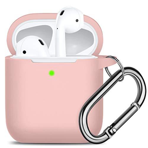 Oielai Kompatibel mit Airpods Hülle Silikon, [Unterstützt kabelloses Laden] Stoßfeste Schutzhülle Ersatz Case Kompatibel mit Apple Airpods 2 & 1, mit Karabiner, Sand Pink