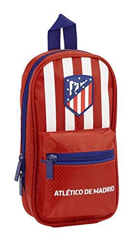 safta Atlético De Madrid Plumier Mochila 4 Estuches Llenos, 33 Piezas, Escolar, 23 cm, Roja