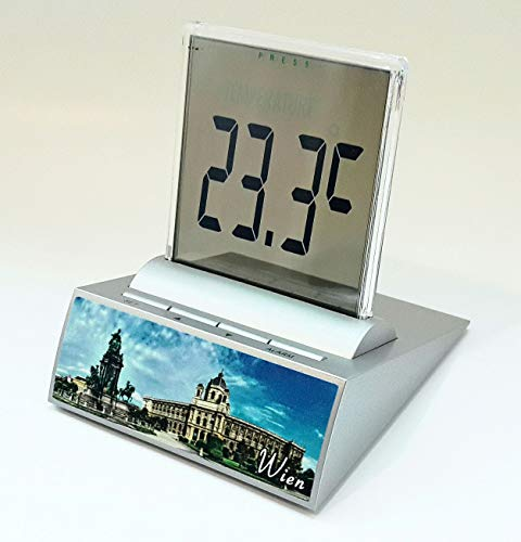 LCD Multifunktions Wecker in Maria Theresia Statue Motiv, mit Thermometer, Stoppuhr und Datumsfunktion; inkl. Hochleistungs Duracell Batterie