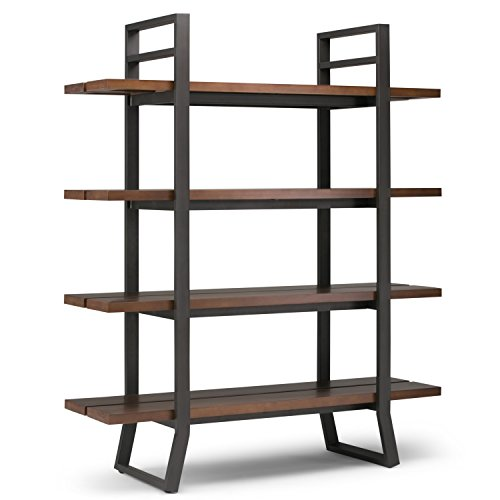 Simpli Home Adler Solid Wood and Metal 66 inch x 54 inch Modern Industrial Bookcase in Light Walnut Brown