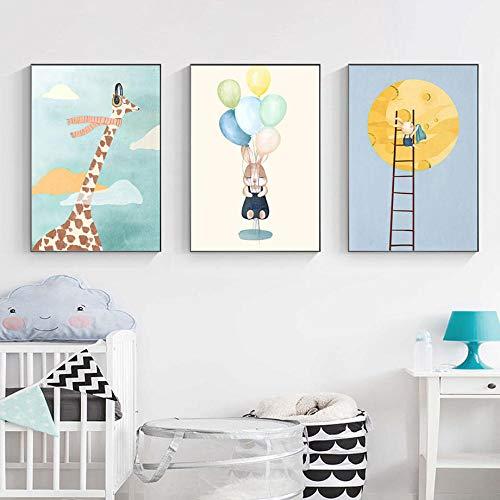 ZGZART Lindo Jirafa Conejo Luna Globo Pared Arte Lienzo Pintura Carteles nórdicos de Dibujos Animados e Impresiones imágenes para decoración de habitación de niños -30x45cmx3 (sin Marco)
