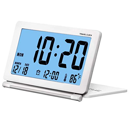 Kleiner Digital-Wecker Reisewecker Faltbare Hintergrundbeleuchtung LCD-Anzeige Wecker mit Datum, Temperatur, Snooze wiederholen und Pu-Lederetui