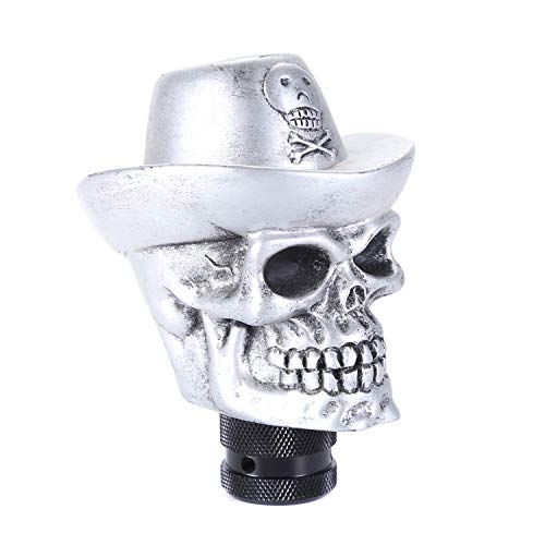 Abfer Truck Shift Knob Skull Car Manual Shifter Knobs Shifting Gear Lever Cowboy Style Fit Most Automatic MT Transmission Vehicles, Silver