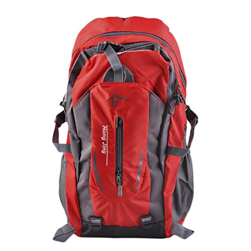 DDyna Outdoor Mountaineering Bags 40L Water Repellent Nylon Shoulder Bag Men And Women Travel Hiking Camping Backpack - Red - 40L