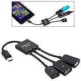17,8cm 3 Puertos USB-C/C-Type 3.1 OTG de Carga del Cable del Eje, for la Galaxia S8 y S8 + / LG G6 / Huawei P10 y P10 Plus/Xiaomi Mi 6 & MAX 2 y Otros teléfonos Inteligentes (Negro) Durable