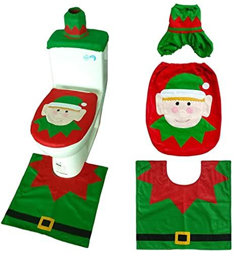 3 Juegos de Adornos navideños para la Cubierta del Asiento del Inodoro y la Tapa de la Bufanda Cubierta de la Alfombra Papá Noel Elk Elf Muñeco de Nieve Pajarita Verde Muñeco de Nieve Elk-Once