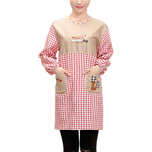 M&G House Chef work Bib Aprons for women Chef Smock Cooking Aprons(Red)