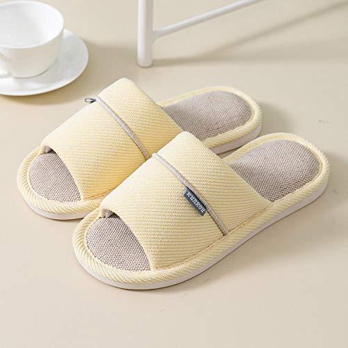 Nwarmsouth Zapatos de casa Suela Antideslizante para Interiores y e,Zapatillas de Lino a Rayas, Zapatos de algodón Suave Antideslizante-Amarillo_35-36,Zapatillas de Paseo para Hombre