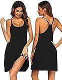 Ekouaer Women Nightgowns Spaghetti Strap Solid Nighties Sleeveless Sleepwear Dress, Black, Medium