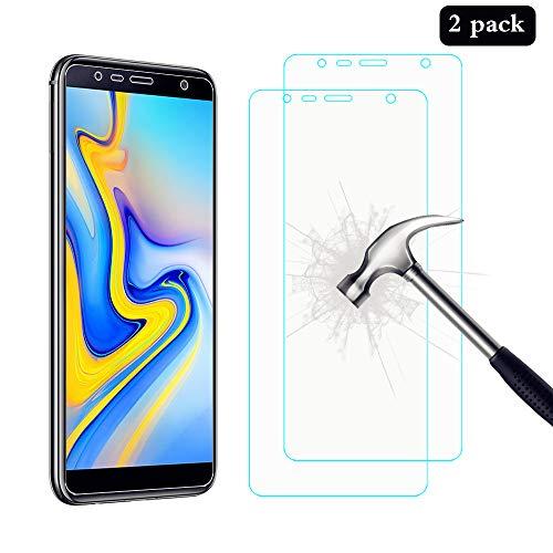 AHABIPERS Panzerglas für Galaxy J6 Plus / J4 Plus 2018, 2 Stück 9H Festigkeit Bildschirmschutzfolie, [Anti-Kratzer/Bläschen/Fingerabdruck/Schutz vor was Staub], Galaxy J6 Plus / J4 Plus Schutzfolie