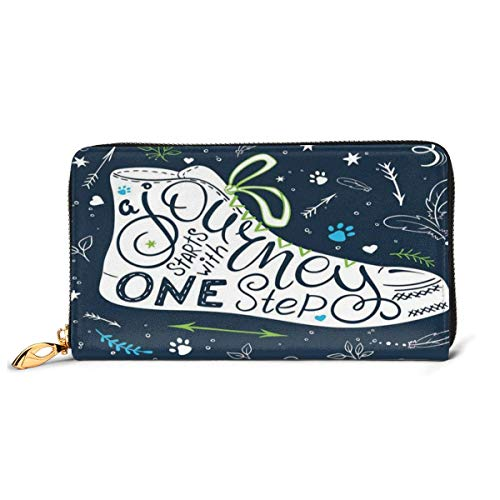Price comparison product image Women's Long Leather Card Holder Purse Zipper Buckle Elegant Clutch Wallet,  A Journey Starts with One Step Calligraphy with Doodle Arrows and Hearts