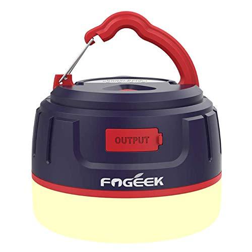 FOGEEK Linterna portátil para acampar, luz de mini carpa recargable, luz cálida, luz de noche, luz de emergencia, banco de energía 5200mAh, resistente al agua, base magnética, 8 modos de luz,
