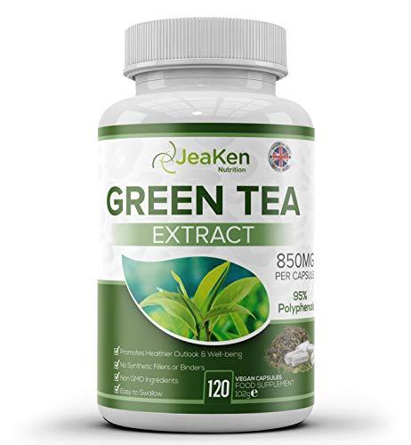 JeaKen - GRÜNE TEEKAPSELN - 95% Polyphenole Grüntee-Extrakt Abnehmen von Fettverbrennungen - Reich an Koffein und Antioxidantien - Fördert die Drainage - 120 allergiefreie vegane Kapseln