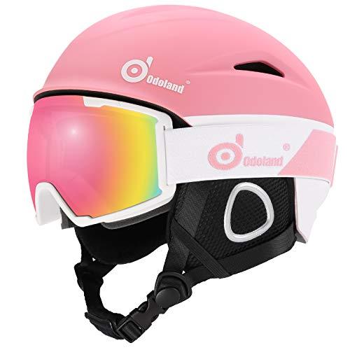 Odoland Skihelm und Skibrille Set Neue Snowboardhelm mit Snowboardbrille für Damen und Herren Jugend Ski Goggles UV 400 Schutz Windwiderstand Snowboard Brille zum Skifahren und Bergsteigen Rosa M