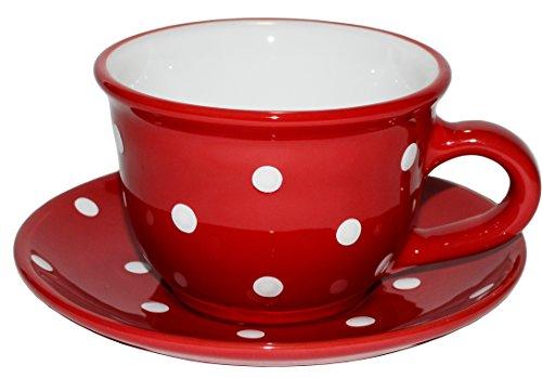 UNGARNIKAT Keramik Capuccinotasse mit Untertasse rot mit handbemalten weißen Punkten