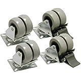2x Doble de rueda giratoria + 2x Doble de rueda giratoria con freno 50mm de diámetro goma 70kg