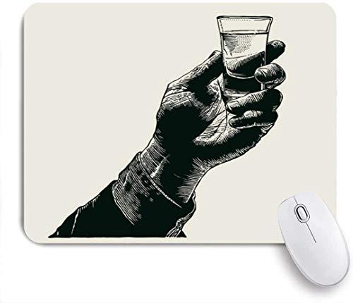 Gaming Mouse Pad rutschfeste Gummibasis, Logo Glas Hand halten Schuss Alkohol trinken Toast Essen Vintage Whisky Tequila Bar Whisky Wodka, für Computer Laptop Schreibtisch