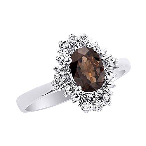 Diamond & Smoky - Anillo de cuarzo en oro blanco de 14 quilates con diamantes de fantasía