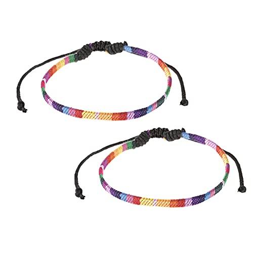 BYNYXI Pulsera arcoíris de 2 piezas, pulsera de la suerte ajustable de tejido trenzado colorido a mano, pulsera de tela, pulsera de la amistad, pulsera arcoíris para hombre y mujer