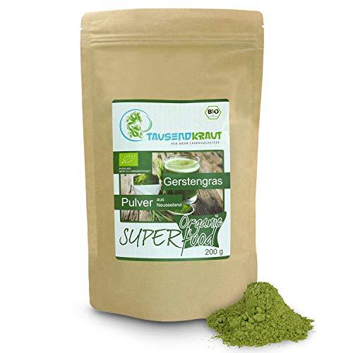 Tausendkraut PREMIUM Gerstengras BIO Pulver - 200g - Superfood - Hohe Produktsicherheit - Fairer Anbau und Handel - Nachhaltig und natürlich - Gras der Götter aus Neuseeland
