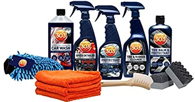303 (30810) Exterior Care Kit - Car Wash - Tire and Rubber Cleaner - Tire Balm and Protectant - Speed Detailer - Protectant - Includes Accessories