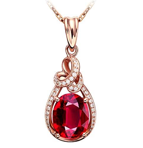 KnSam Collier Femme Fine Tourmaline Rouge Naturelle 3ct, Or Rose 18 Carats Élégance Cadeau Noël
