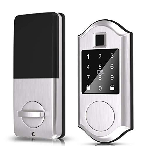 Narpult Fingerprint Smart Lock, Keyless Entry Door Lock, Electronic Deadbolt Door Lock, Bluetooth Keypad Digital Lock - App Control, Biometric, Fobs, Passcodes and Keys. - Satin Nickel