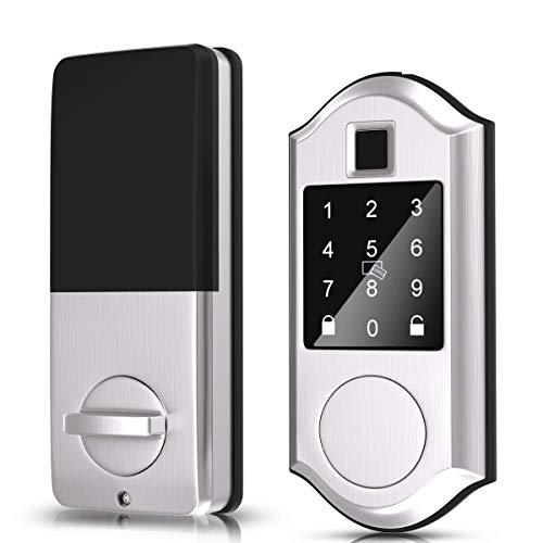 Narpult Fingerprint Smart Lock, Keyless Entry Door Lock, Electronic Deadbolt Door Lock, Bluetooth Keypad Digital Lock - App Control, Biometric, Fobs, Passcodes and Keys. - Satin Nickel