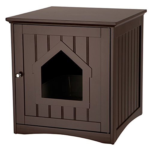 Trixie Pet Products Wooden Cat Home & Litter Box, 19.84 LBS, Espresso - Brown (40292)
