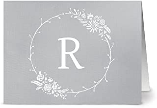 Floral Monogram 'R' Smoke - 24 Cards - Blank Cards w/Grey Envelopes Included