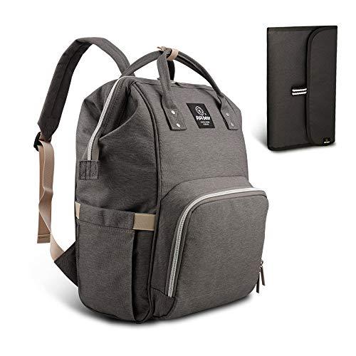 Pipibear Mutifunktionale Wickeltasche Rucksack, Wasserdichte Wickelrucksack Tasche, Große Reisetasche für Mutter und Baby(Grau)