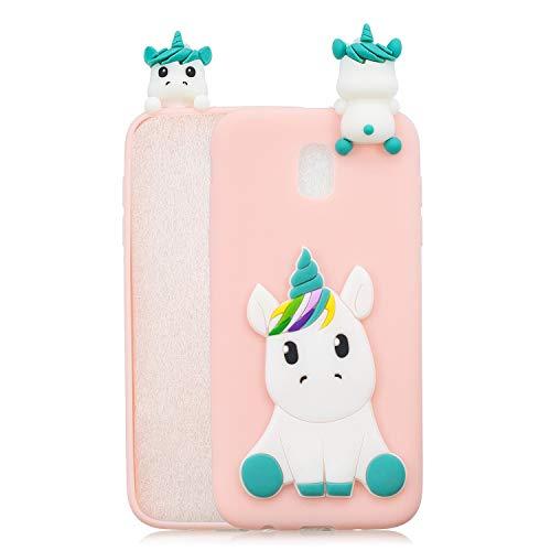 HongYong Handyhülle für Samsung Galaxy J7 (2017) / J730 - Hülle Fantastic Case - Einhorn auf Rosaem Grund - Hülle Schutzhülle Etui Case Cover Tasche für Handy