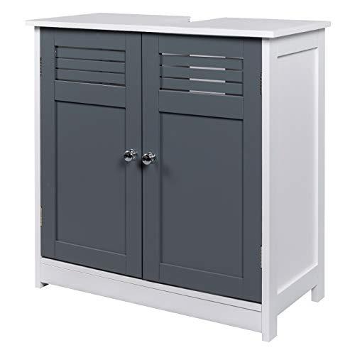 EUGAD Mueble de Baño Armario Bajo Lavabo Mueble para Debajo de Lavabo Mueble Lavabo de Baño Almacenamiento con 2 Puertas 60 x 30 x 60 cm Blanco/Gris 0117WY