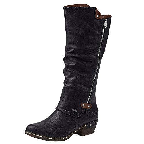 Rieker 93655 Damen Winterstiefel,Winter-Boots,Fellboots,Fellstiefel,gefüttert,warm,Reißverschluss,schwarz,39 EU