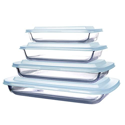 Luvan Set of 4 Glass Baking Dishes with BPA-free Lids and Wide Rim, 1qt/1.7qt/2.3qt/3.2qt,Freezer,Oven,Microwave and Dishwasher Safe,Nest Space-saving Storage,Glass Lasagna Pan,Versatile in Kitchen