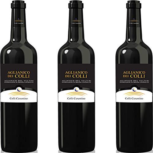 Aglianico del Vulture Doc | Colli Ceretino | Vino Rosso della Basilicata | Eccellenza Lucana | Confezione 3 Bottiglie 75 Cl | Idea Regalo
