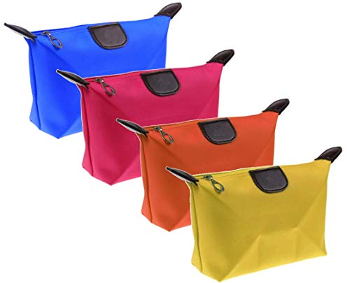 Set 4 Pochette Colorate, Beauty Case, Organizer da Viaggio, 4 Colori, DK Italy, Porta Trucchi e Cosmetici, Borsa Milleusi, Toilette, Astucci