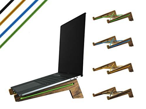 KLEINHOUT KHKL001 laptop standaard van notenhout Plex hout, laptopstandaard voor notebook, MacBook Air, laptophouder staander - Made in Germany L (ab 14 Zoll) - High Nose 02 geel