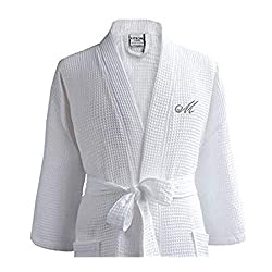 cheap Luxor Linen Waffle Robe – 100% Egyptian Cotton – Unisex / One Size – Waffle Fabric, Spa…
