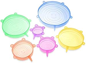 6pcs Silicone Stretch Lids - Ultimate Instalids Silcone Lids and Food Covers Huggers Container Silcone Lids Reusable Durab...