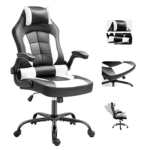 Cadcah Gaming Chair Ergonomic Office Chair Reclining Desk Chair Height Adjustment Computer Chair Racing Chair with Headrest and Lumbar Support PC Gaming Chair for Adults Teens Great Gift for Men