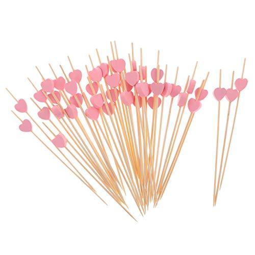 AMAZING1 100 Stück Bambus-Picker mit Herzen, gerüscht, für Obst, Cocktail, Getränke, Sandwiches, Vorspeisen, Zahnstocher, Hochzeit, Party, Dekoration, 12 cm – Pink