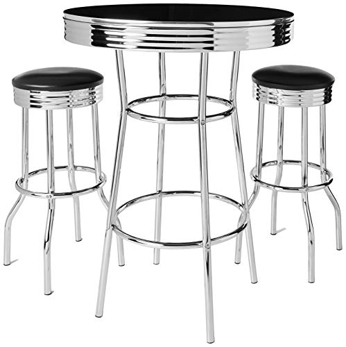 Crown Mark 3905Set Retro 3pc Bar Set w/ 2 stools Black and Chrome