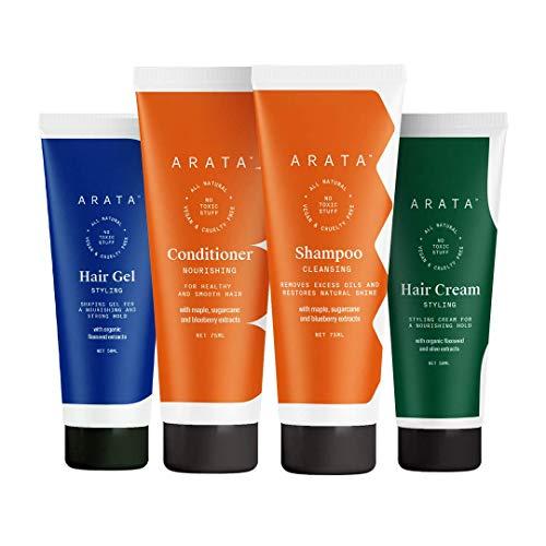 Glamorous Hub Arata Natural Oil Control Hair Care Essentials pour femmes et avec shampooing nettoyant Oil Control (75 ml), revitalisant (75 ml), gel capillaire (50 ml) et crème capillaire (50 ml)